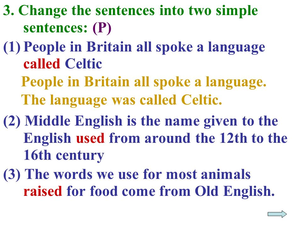3. Change the sentences into two simple sentences: (P)