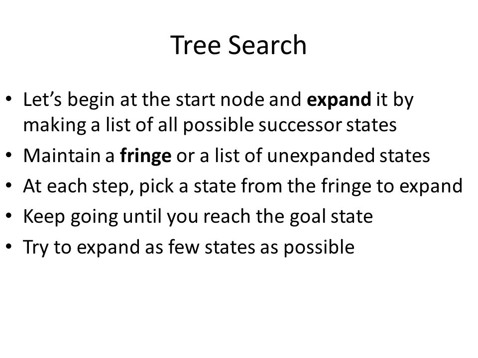 Tree Search Let's begin at the start node and expand it by making a list of all possible successor states.