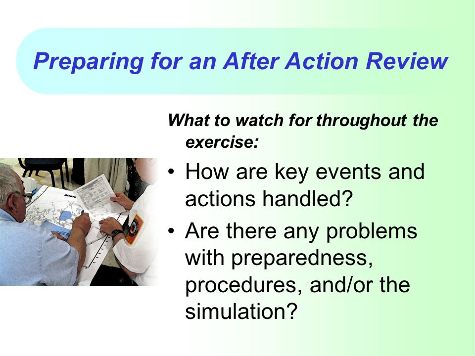 Preparing for an After Action Review
