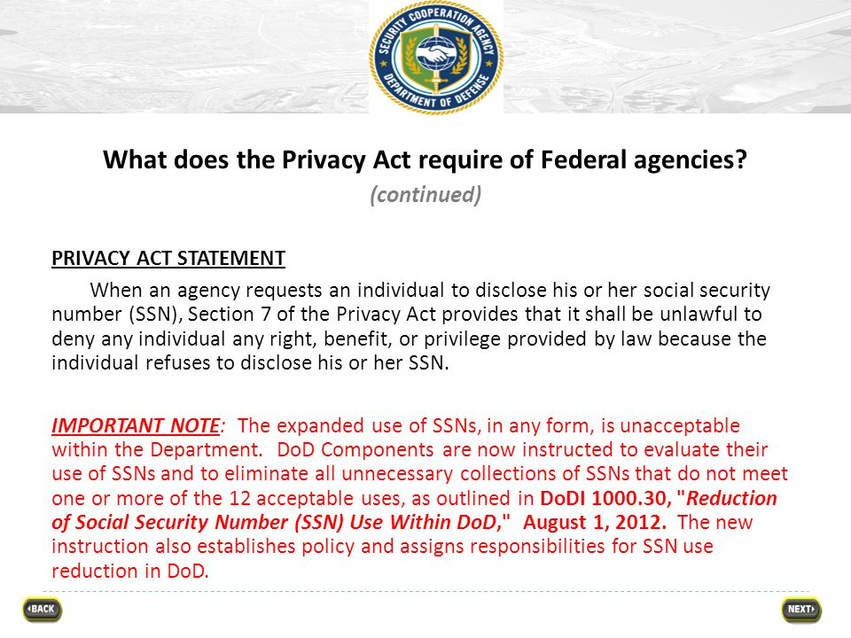 What does the Privacy Act require of Federal agencies