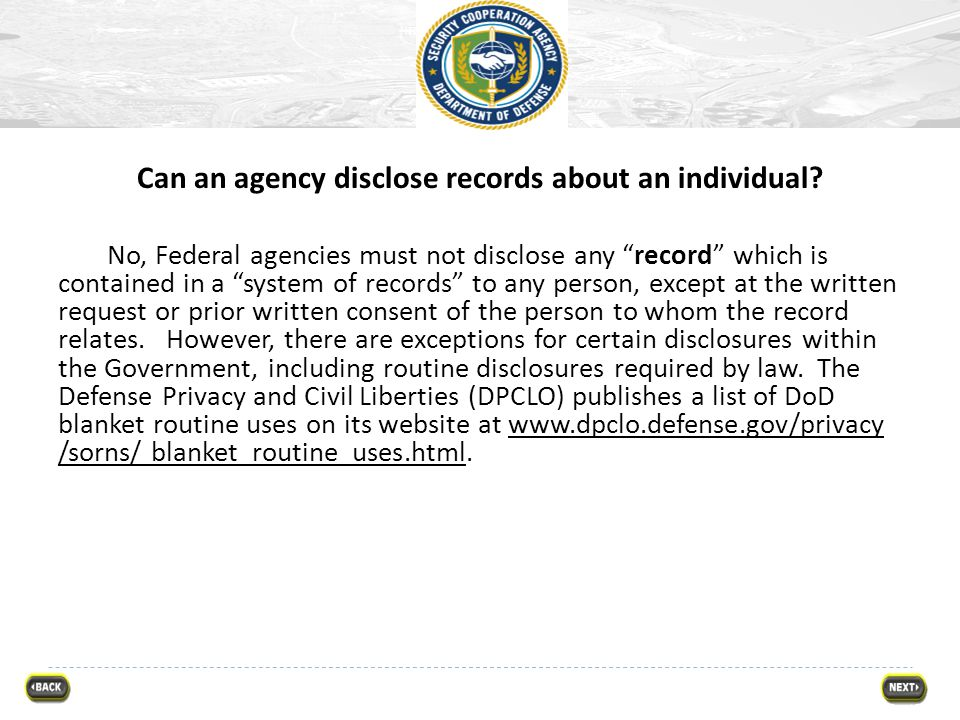 Can an agency disclose records about an individual