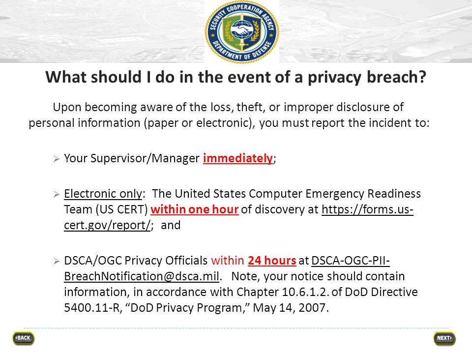 What should I do in the event of a privacy breach