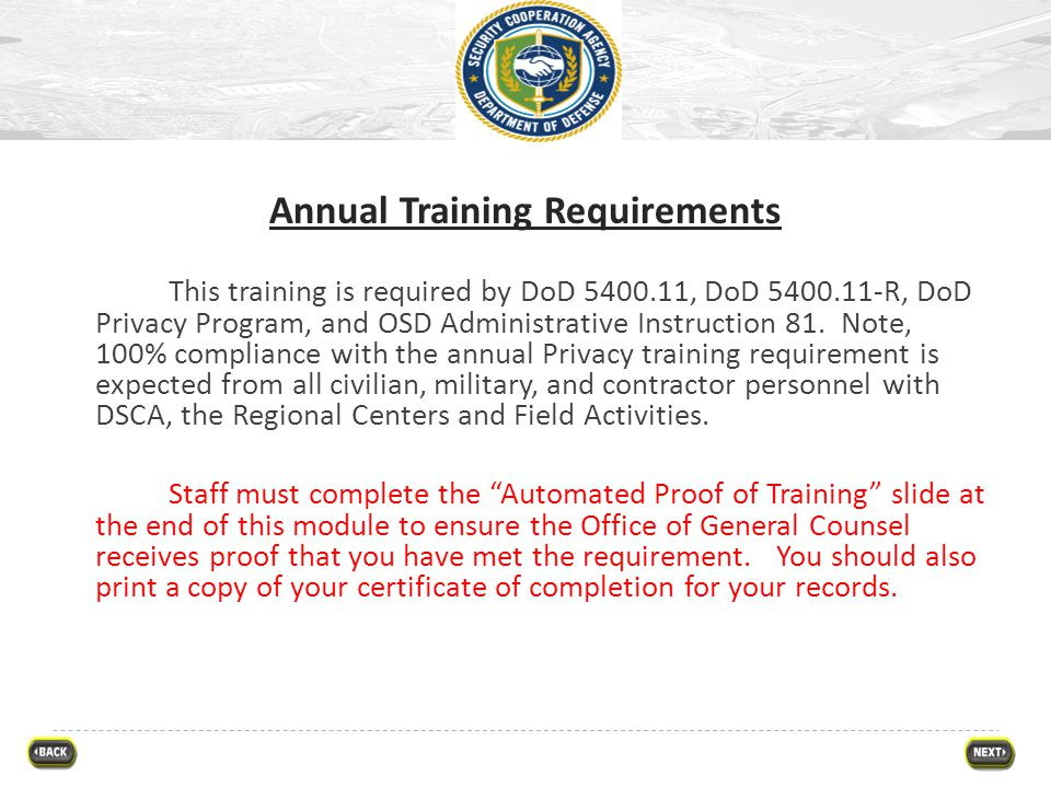 Annual Training Requirements