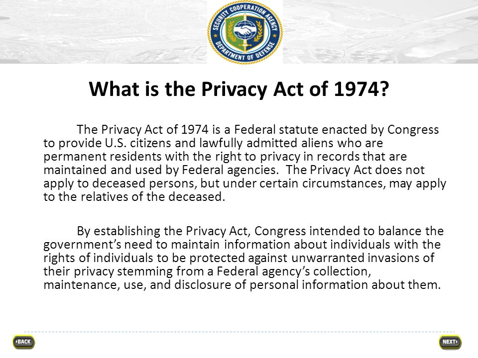 What is the Privacy Act of 1974
