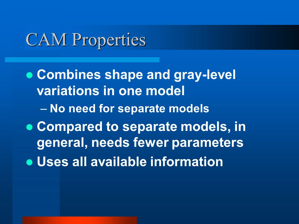 CAM Properties Combines shape and gray-level variations in one model