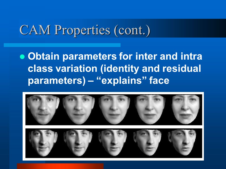 CAM Properties (cont.) Obtain parameters for inter and intra class variation (identity and residual parameters) – explains face.