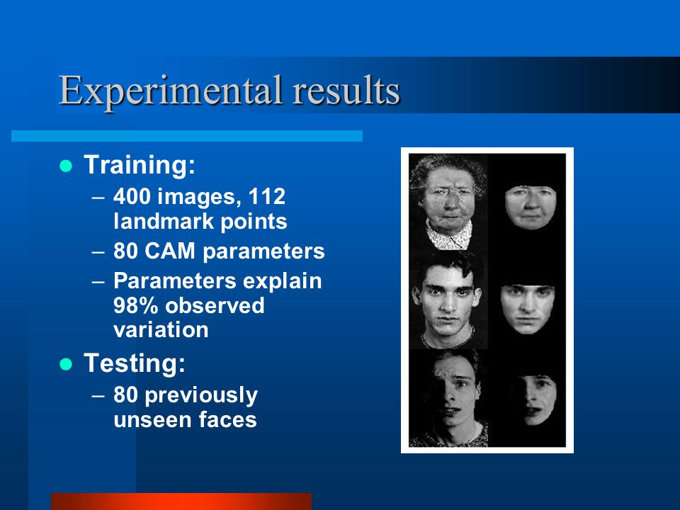 Experimental results Training: Testing: