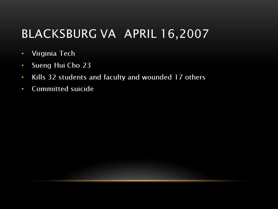 Blacksburg va april 16,2007 Virginia Tech Sueng Hui Cho 23