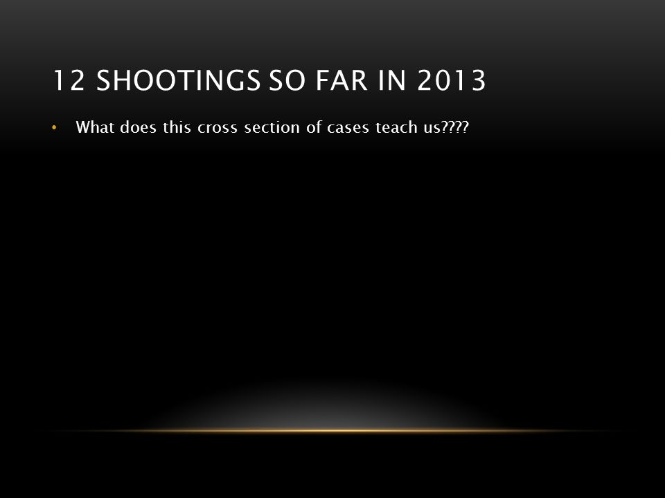 12 shootings so far in 2013 What does this cross section of cases teach us