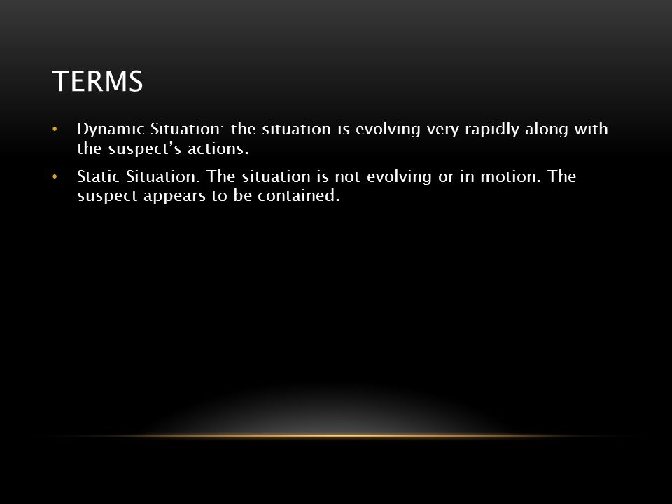 terms Dynamic Situation: the situation is evolving very rapidly along with the suspect's actions.
