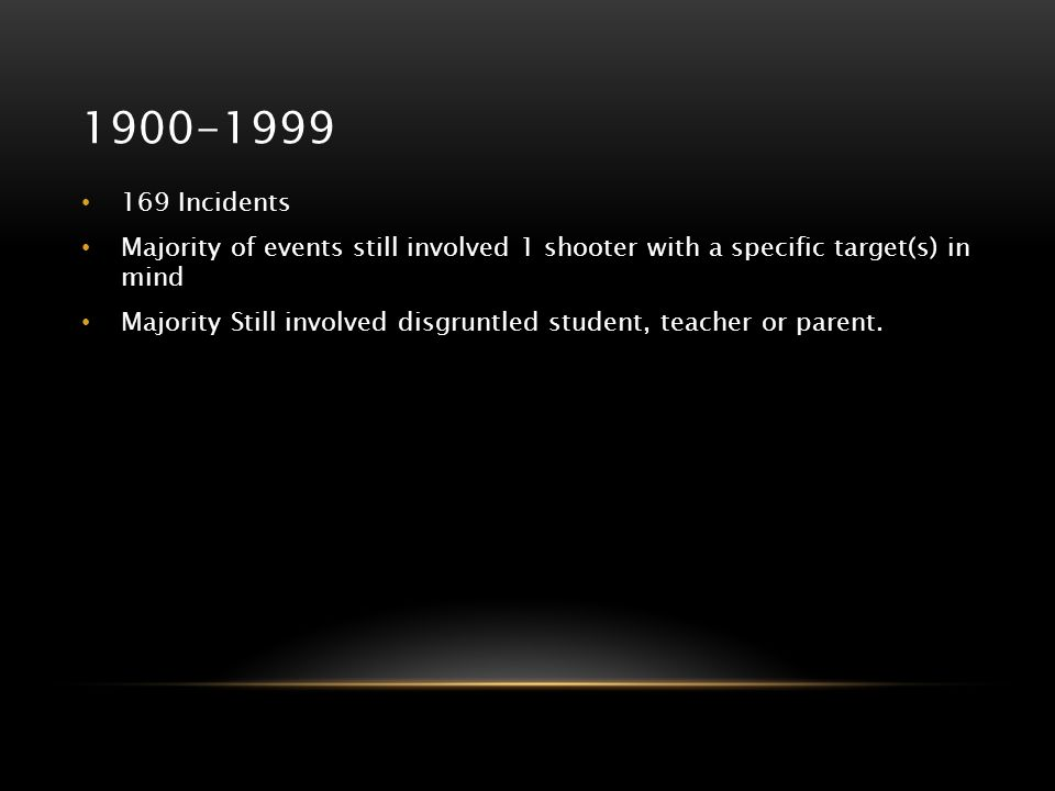 1900-1999 169 Incidents. Majority of events still involved 1 shooter with a specific target(s) in mind.