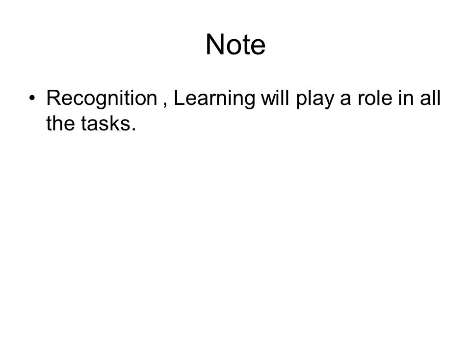 Note Recognition , Learning will play a role in all the tasks.