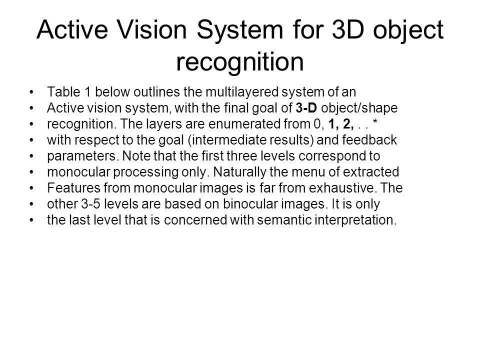 Active Vision System for 3D object recognition