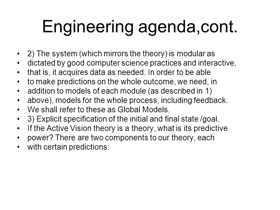 Engineering agenda,cont.