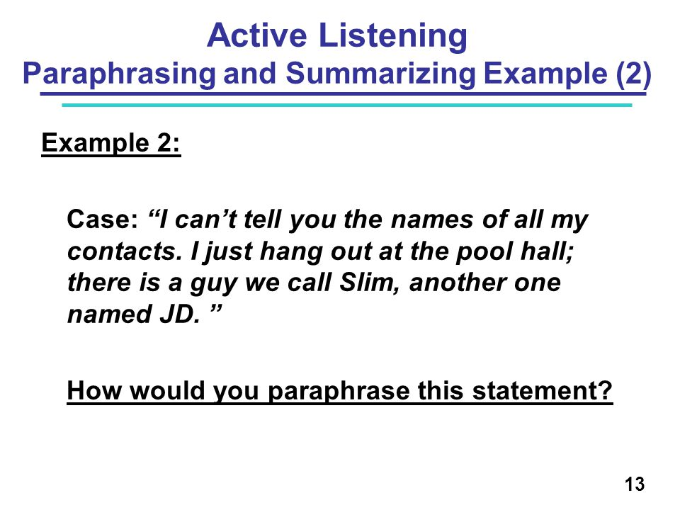 Active Listening Paraphrasing and Summarizing Example (2)