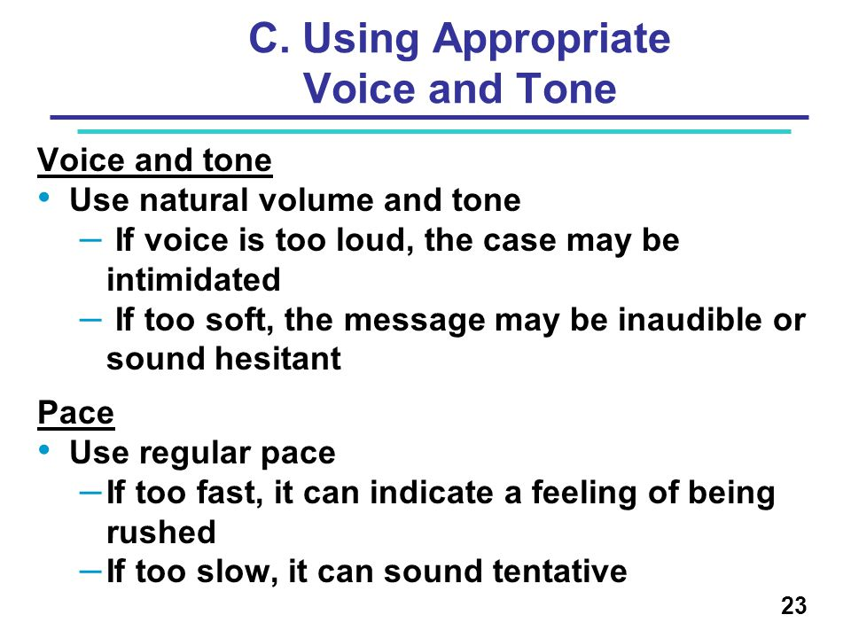 C. Using Appropriate Voice and Tone