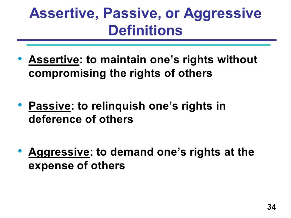 Assertive, Passive, or Aggressive Definitions