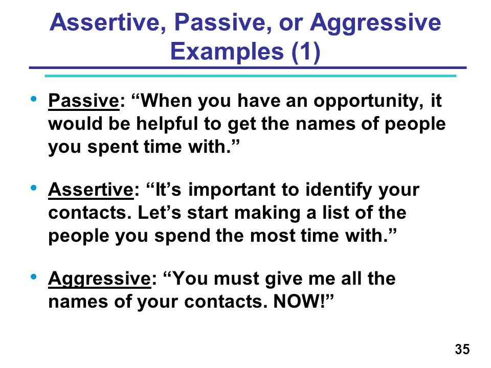 Assertive, Passive, or Aggressive Examples (1)