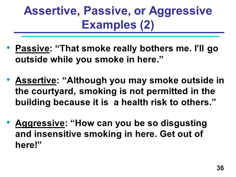 Assertive, Passive, or Aggressive Examples (2)