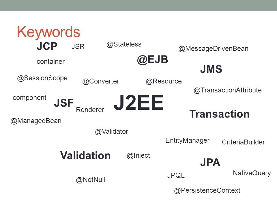 J2EE Keywords JCP @EJB JMS JSF Transaction Validation JPA @Stateless