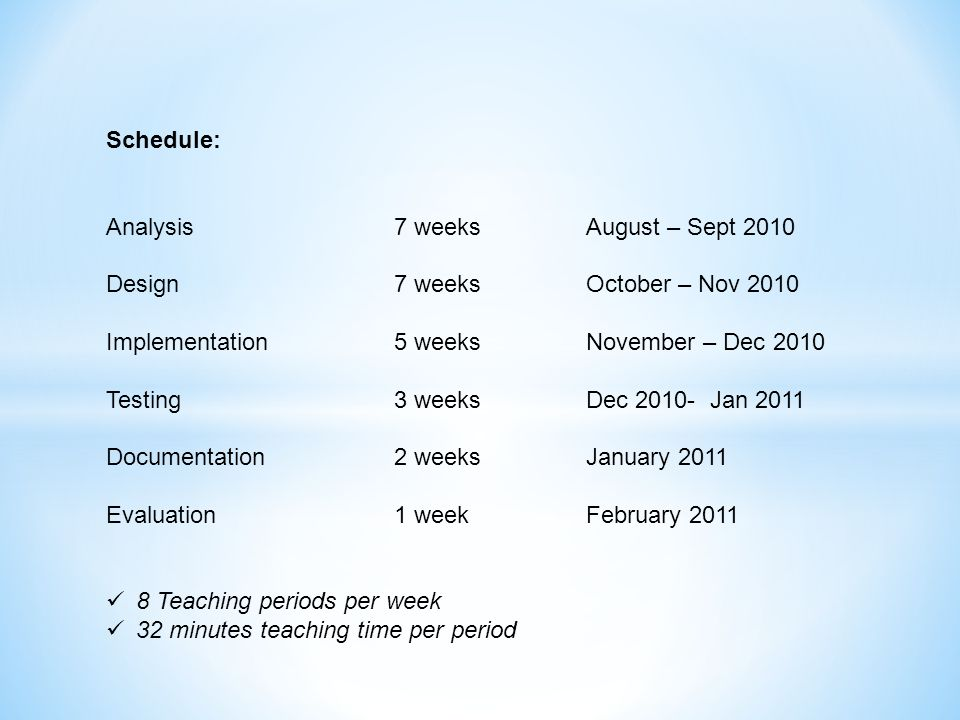 Schedule: Analysis 7 weeks August – Sept 2010. Design 7 weeks October – Nov 2010. Implementation 5 weeks November – Dec 2010.
