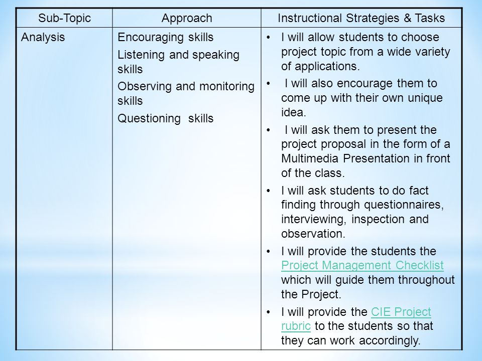 Instructional Strategies & Tasks