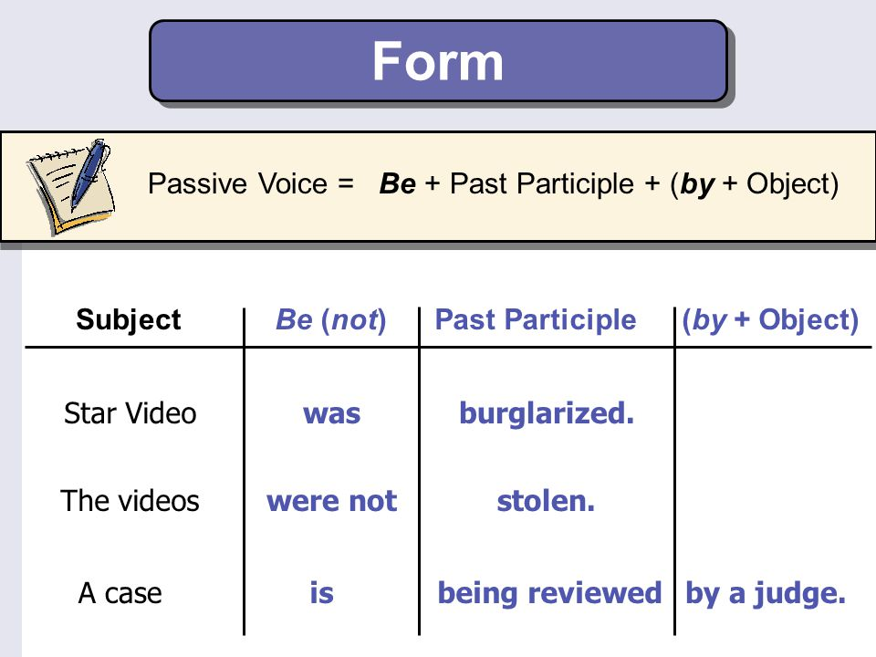Form Passive Voice = Be + Past Participle + (by + Object) Subject