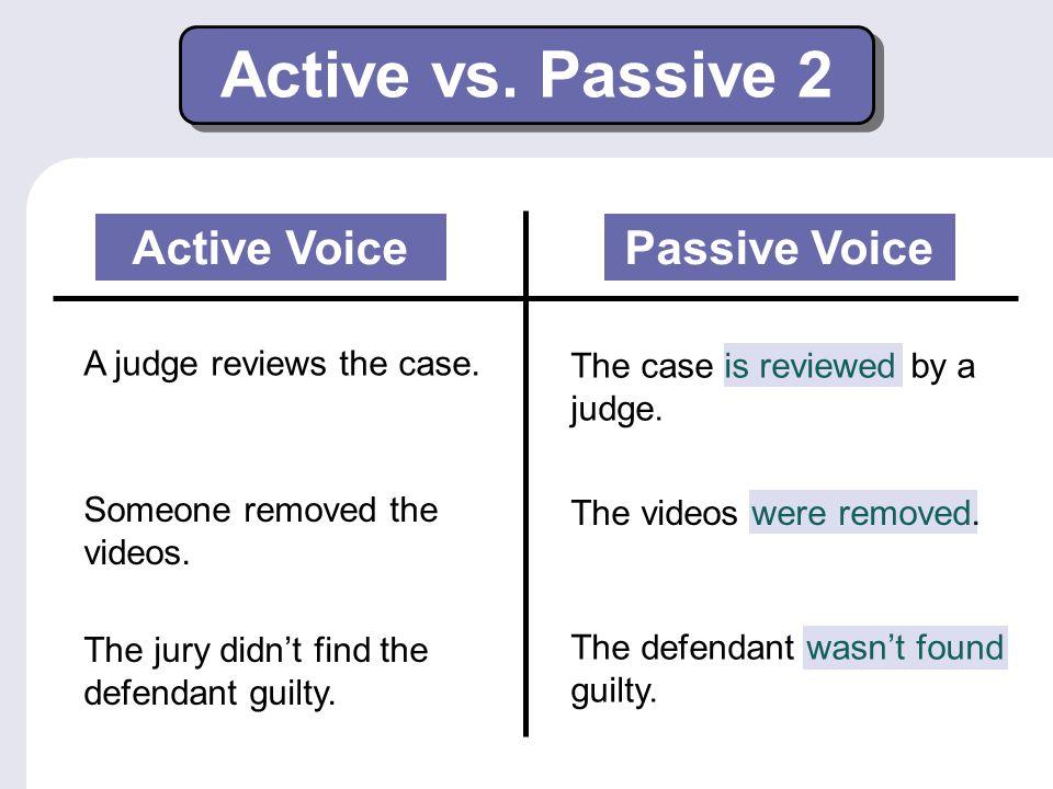 Active vs. Passive 2 Active Voice Passive Voice