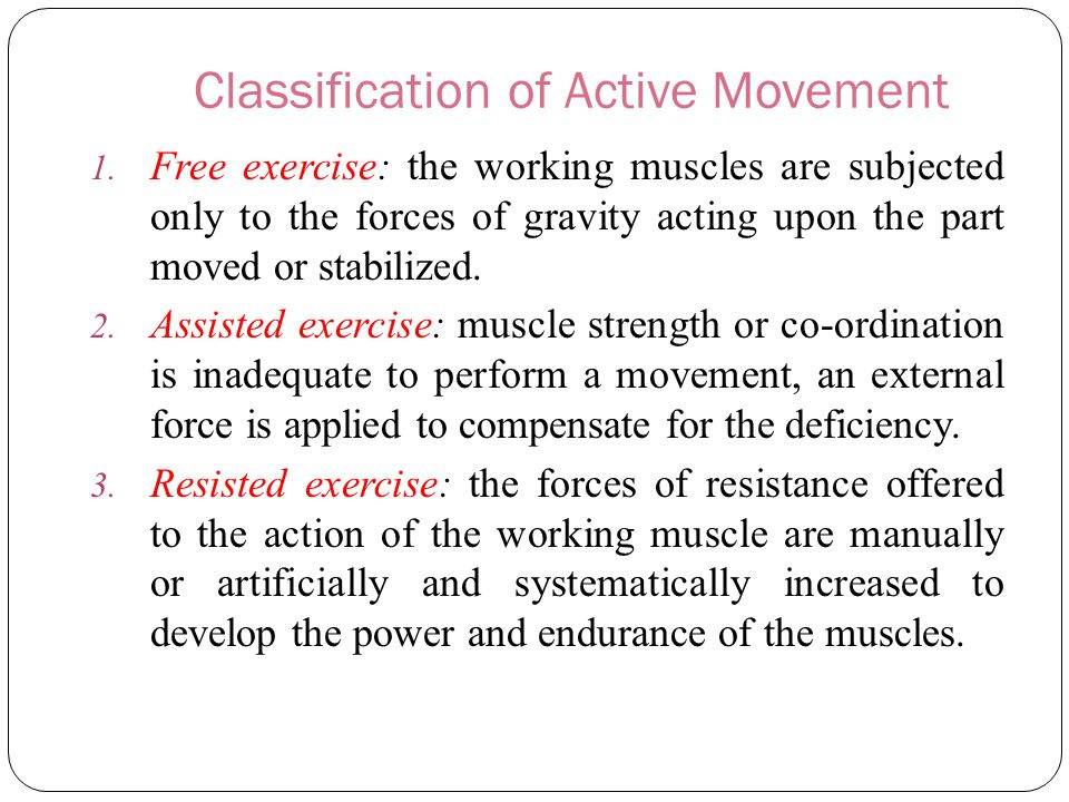 Classification of Active Movement