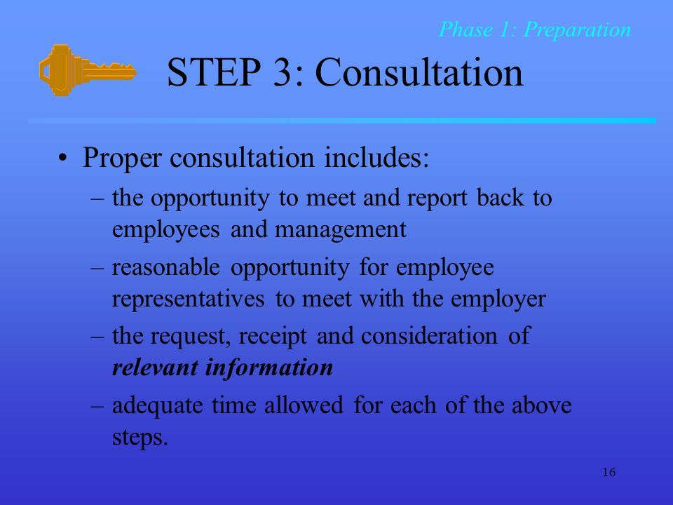 STEP 3: Consultation Proper consultation includes: