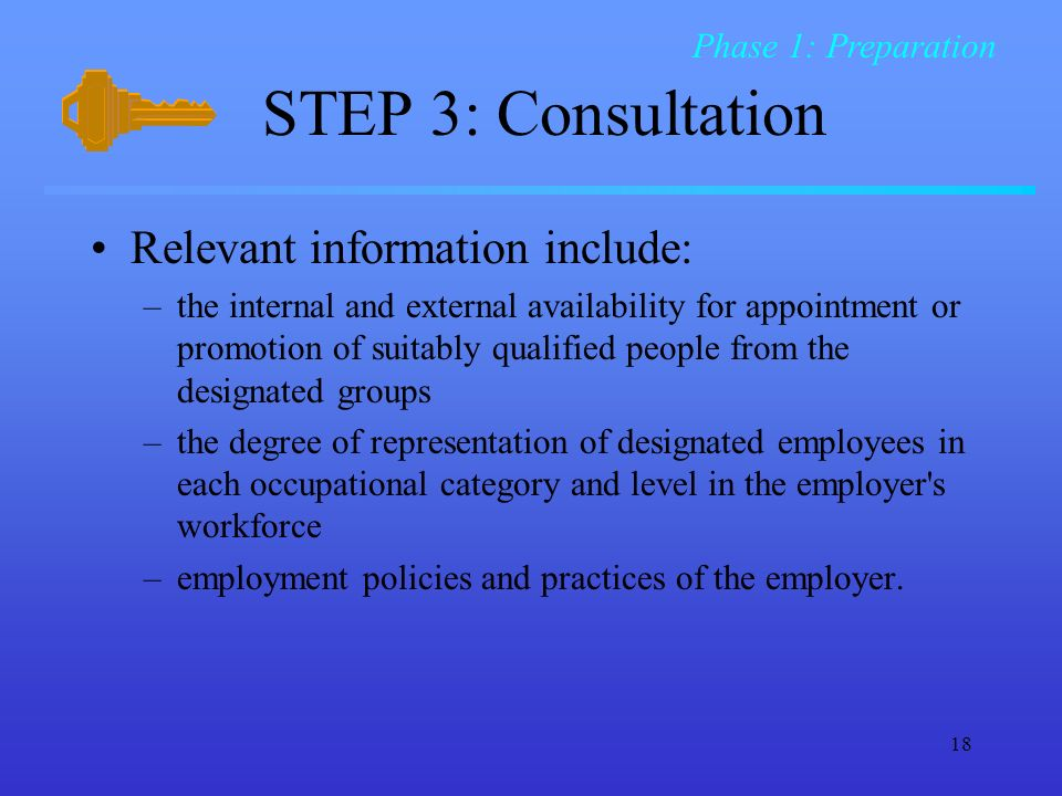 STEP 3: Consultation Relevant information include: