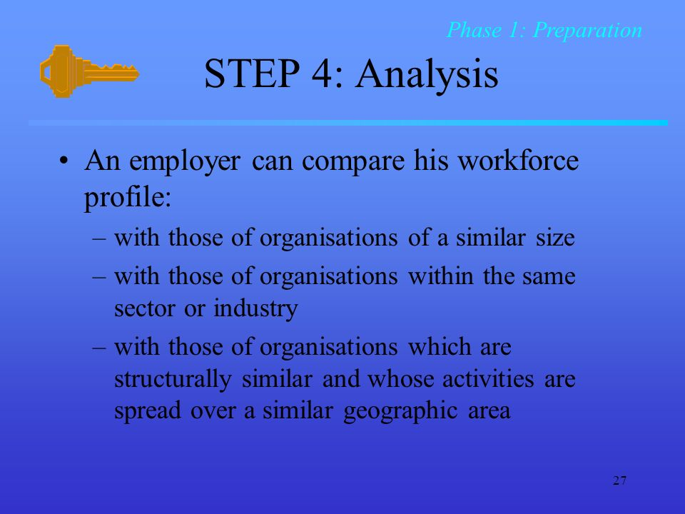 STEP 4: Analysis An employer can compare his workforce profile: