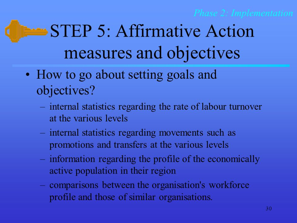 the goals and effects of affirmative action Affirmative action is a program of positive action, undertaken with conviction and effort, designed to overcome the present effects of the past policies, practices equal employment opportunity is the primary purpose and goal of affirmative action under section 46a-68-31 of the connecticut general statutes [link to statutes.