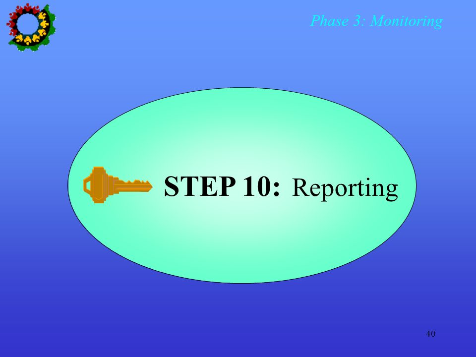 Phase 3: Monitoring STEP 10: Reporting