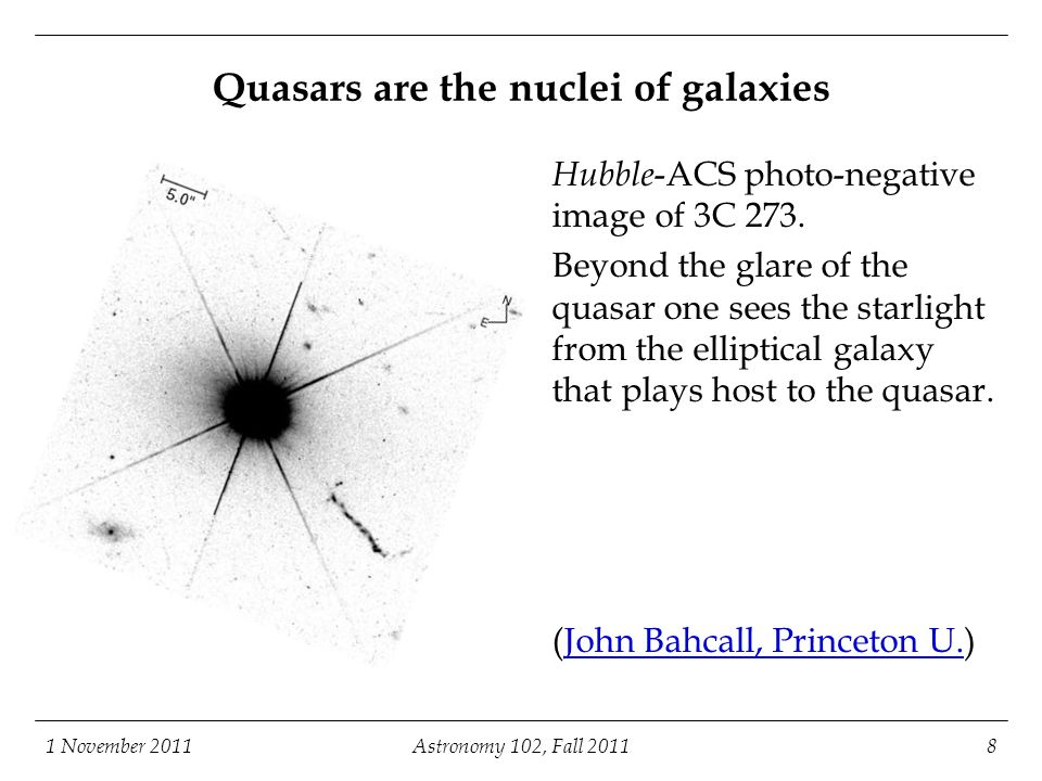 Quasars are the nuclei of galaxies
