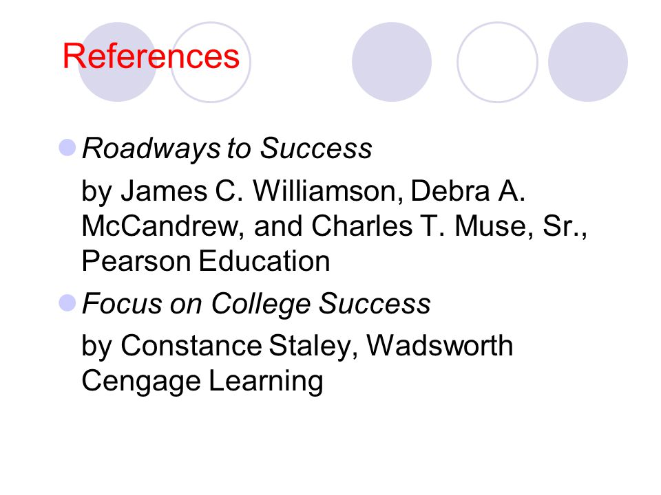 References Roadways to Success