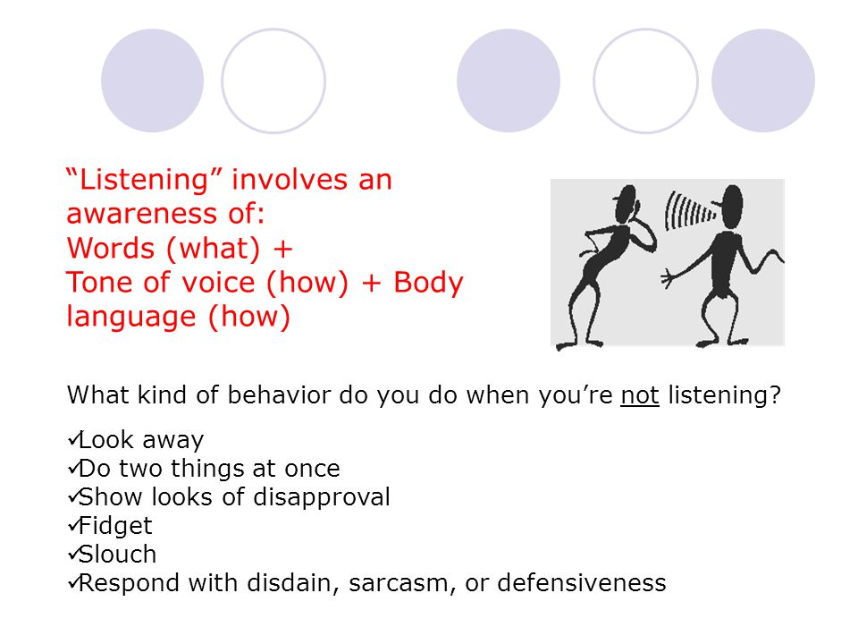 Listening involves an awareness of: Words (what) +
