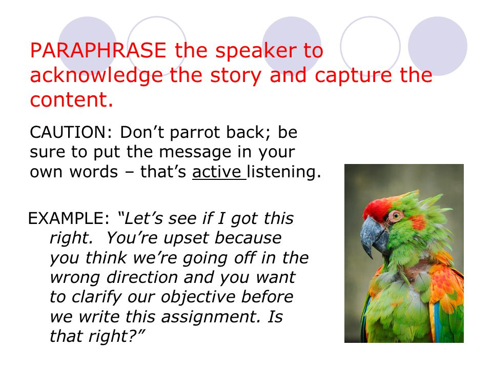 PARAPHRASE the speaker to acknowledge the story and capture the content.