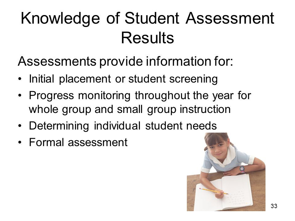 Knowledge of Student Assessment Results