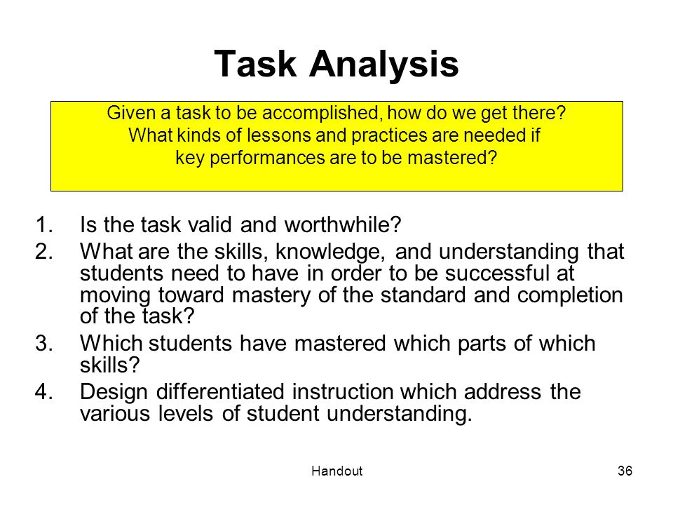 Task Analysis Is the task valid and worthwhile