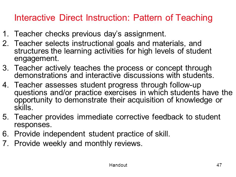 Interactive Direct Instruction: Pattern of Teaching