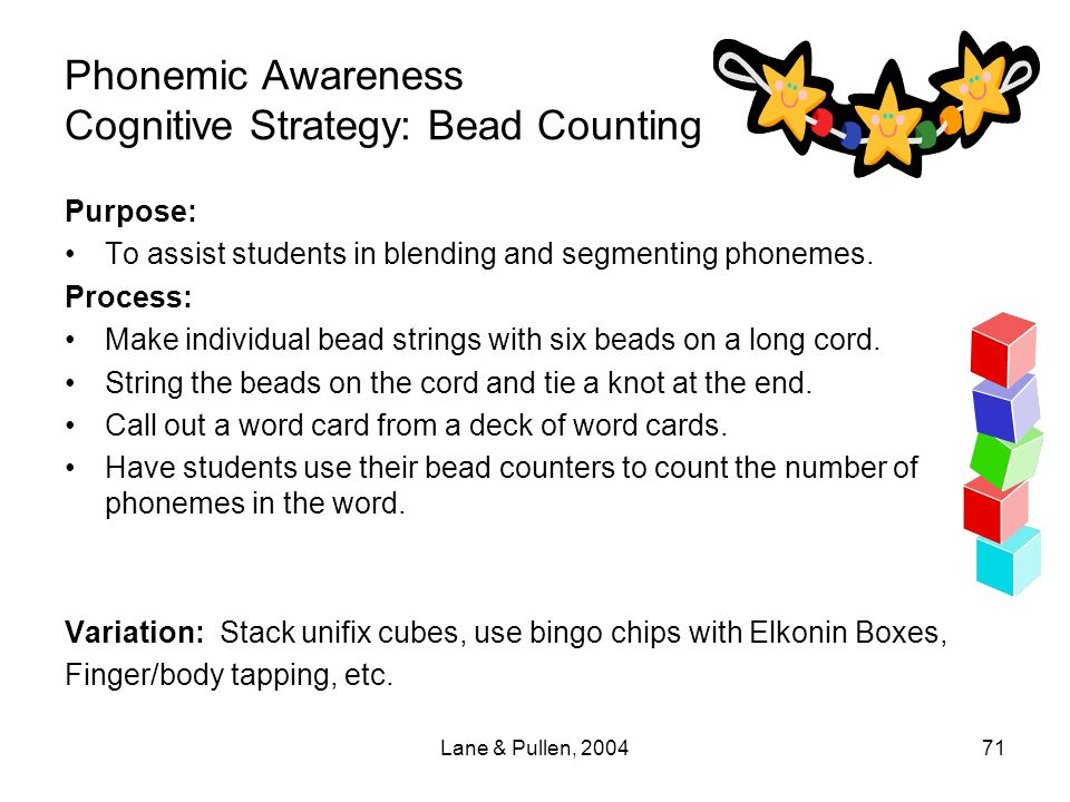 Phonemic Awareness Cognitive Strategy: Bead Counting
