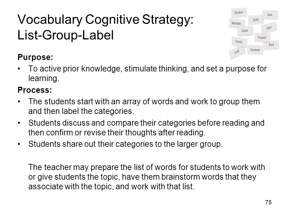 Vocabulary Cognitive Strategy: List-Group-Label