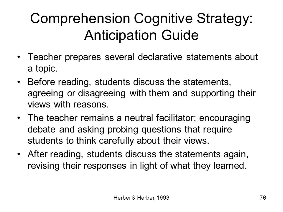 Comprehension Cognitive Strategy: Anticipation Guide