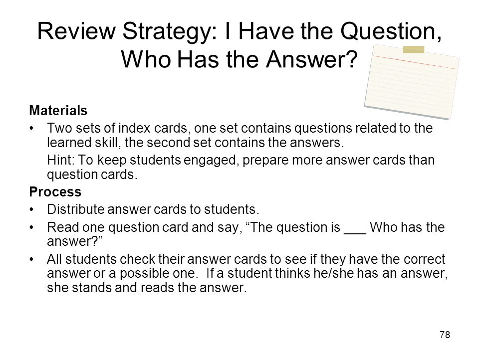 Review Strategy: I Have the Question, Who Has the Answer