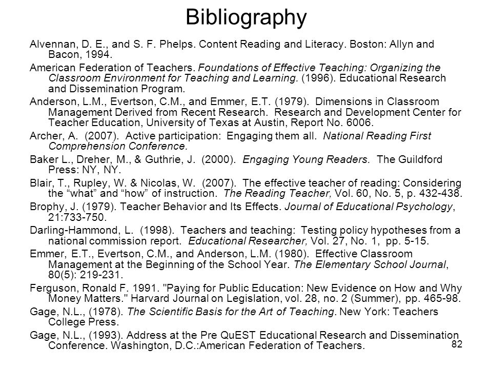 Bibliography Alvennan, D. E., and S. F. Phelps. Content Reading and Literacy. Boston: Allyn and Bacon, 1994.
