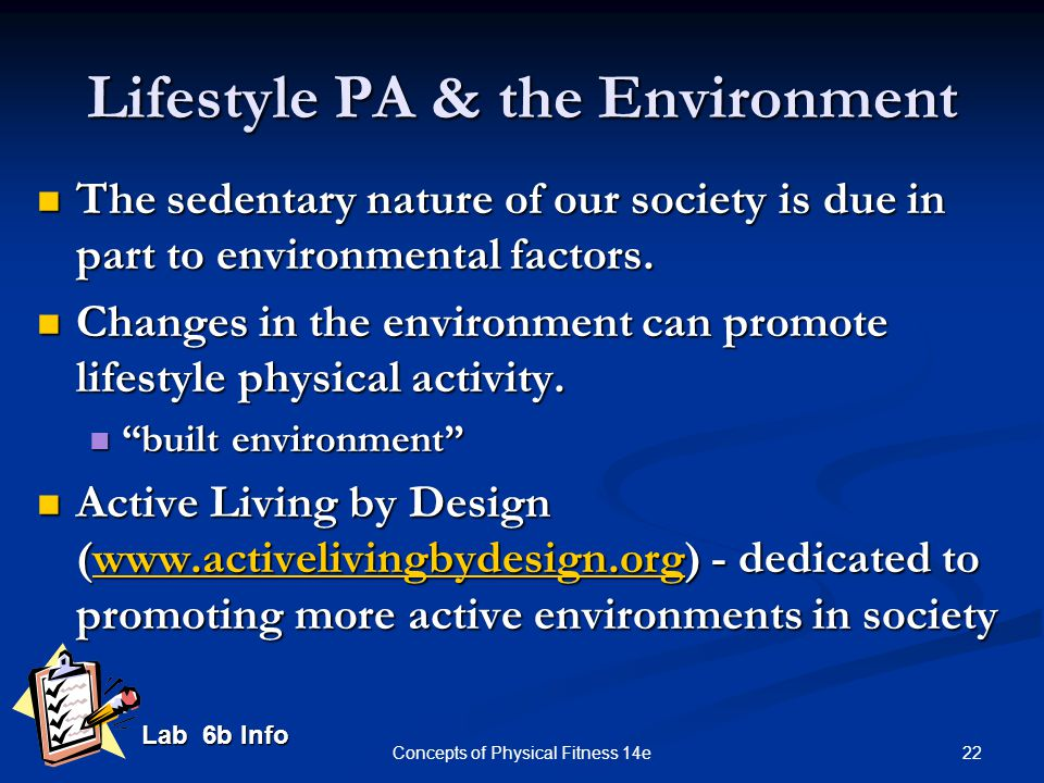Lifestyle PA & the Environment