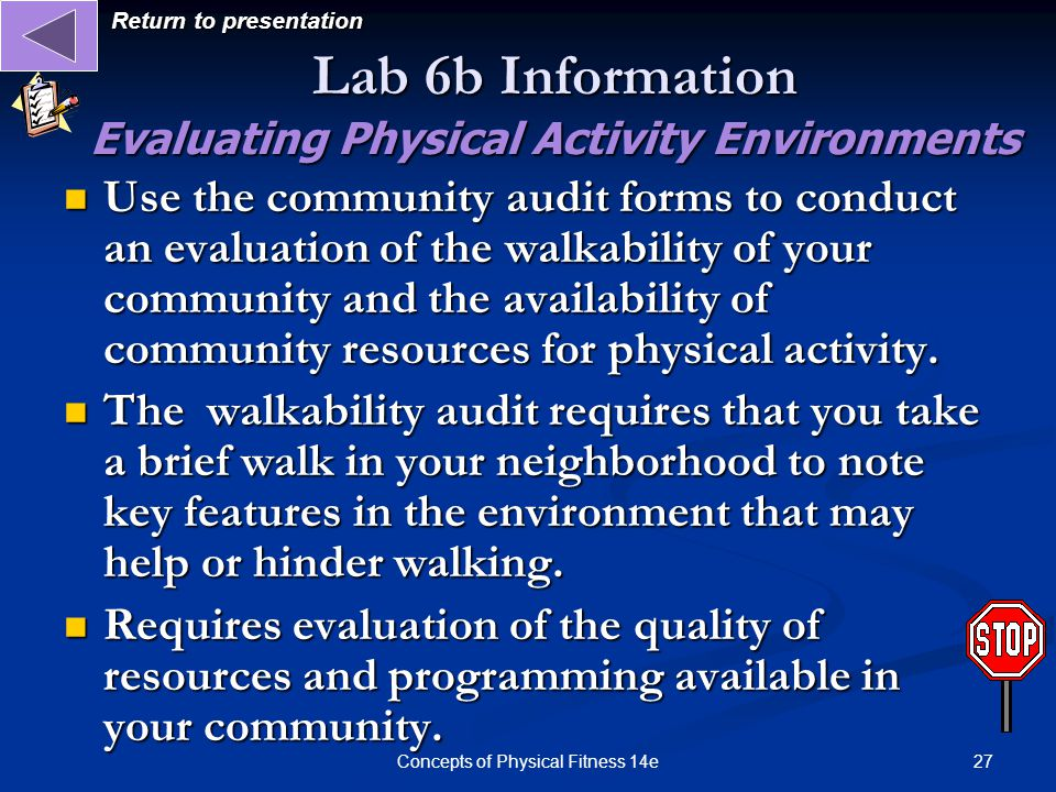 Lab 6b Information Evaluating Physical Activity Environments