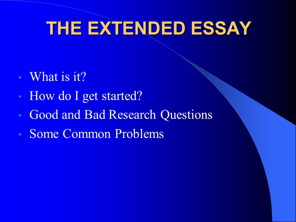 ib history extended essay research questions Ib biology extended essay biology for joining the summer ecology research class as a way of completing their extended essay project sample extended essays.
