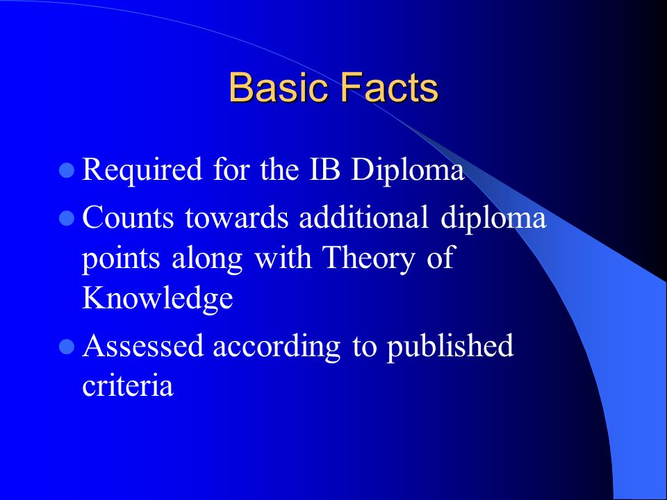Basic Facts Required for the IB Diploma